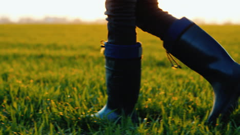 A-Farmer-In-Rubber-Boots-Walks-Across-A-Green-Field-Only-Legs-Are-Visible-In-The-Frame-Steadicam-Fol