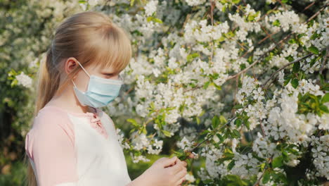 Sad-Child-In-A-Mask-Near-Flowering-Trees-Allergy-Problem