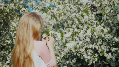 Girl-Admires-A-Flowering-Tree-The-Arrival-Of-Spring-And-Heat