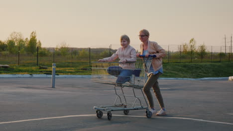Mom-Rolls-Her-Daughter-In-A-Shopping-Basket