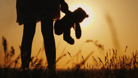 Silhouette-Of-A-Girl-With-Balloons-And-A-Teddy-Bear-It-Is-Worth-The-Sunset-Farewell-To-Childhood-Con