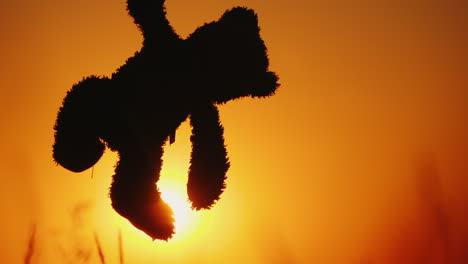 A-Child-Is-Holding-A-Murderous-Bear-By-The-Paw-Against-The-Setting-Sun-And-Orange-Sky