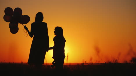 Mom-And-Daughter-Are-Standing-On-A-Meadow-At-Sunset-They-Are-Holding-Balls-And-A-Teddy-Bear-Inspirat