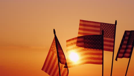 American-Flags-In-The-Rays-Of-The-Setting-Sun-Independence-Day-Celebration-In-The-Usa