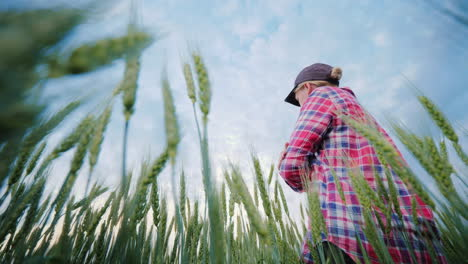 Young-Woman-Farmer-Standing-In-A-Wheat-Field-Looking-Forward-Low-Angle-Shot
