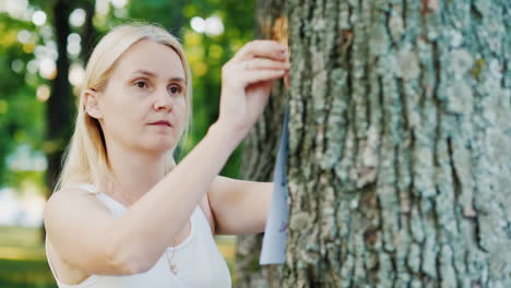 Young-Woman-Attaches-An-Ad-To-A-Tree-In-The-Park
