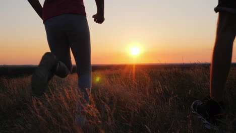 A-Young-Family-With-A-Child-Makes-An-Evening-Jog-In-Nature