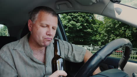 The-Driver-Drinks-Alcohol-At-The-Wheel-Dangerous-Illegal-Behavior-Concept