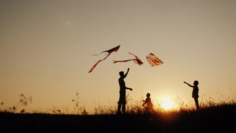 Children-Play-With-Kites-In-A-Picturesque-Place-At-Sunset