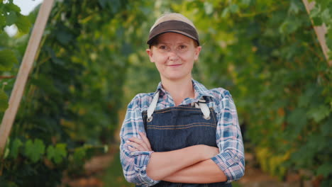 Portrait-Of-A-Farmer-Woman-Near-A-Manicured-Vineyard-Small-Business-Owner