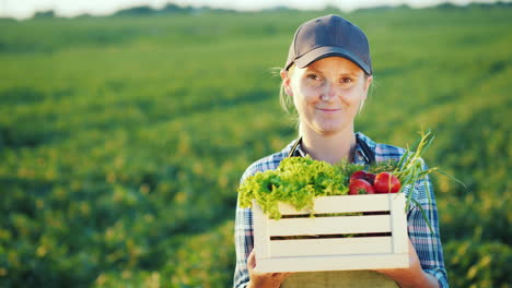 Cheerful-Woman-Farmer-With-A-Box-Of-Vegetables-Stands-On-The-Background-Of-The-Field