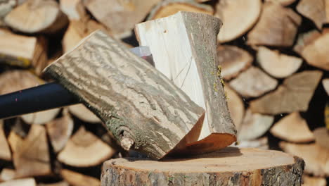 Ax-Splits-A-Log-Harvesting-Firewood
