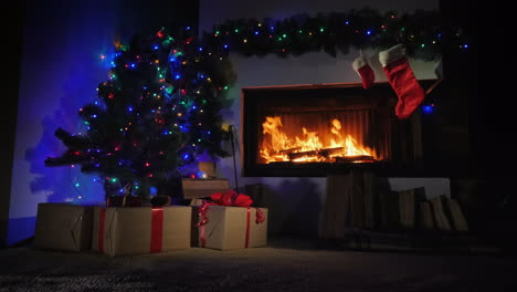 Fireplace-Decorated-For-Christmas-And-Gift-Socks-Above-It-Slider-Shot-4k-Video