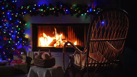 A-Place-Of-Winter-Relaxation---A-Rocking-Chair-By-The-Fireplace-And-A-Set-For-Needlework-Nearby
