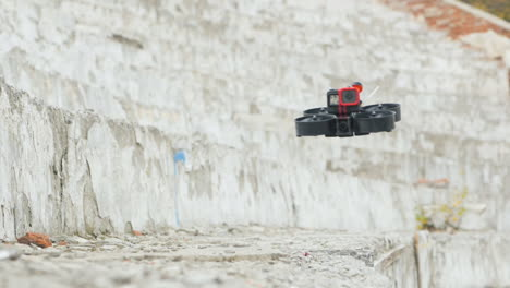 A-Drone-With-A-Camera-Flies-Quickly-Over-Concrete-Steps-Slow-Motion-Video