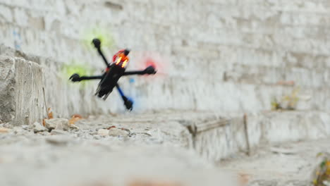 A-Sports-Drone-Hits-A-Wall-And-Crashes-Unsuccessful-Maneuver