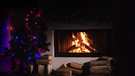 Burning-Fireplace-Decorated-For-Christmas-Near-The-New-Year-Tree