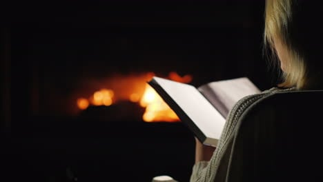 An-Evening-With-A-Book-By-The-Fireplace-Back-View
