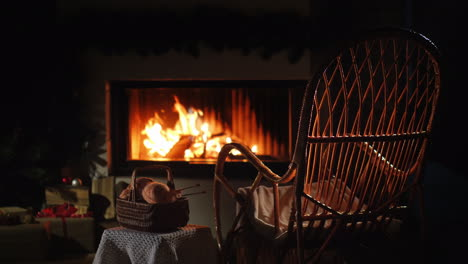 Rocking-Chair-And-A-Set-For-Knitting-By-The-Fireplace-Nice-Evening-At-Home
