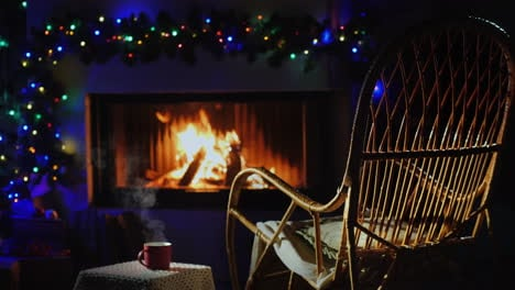 Rocking-Chair-By-The-Fireplace-Decorated-For-Christmas-Next-To-A-Cup-Of-Hot-Tea