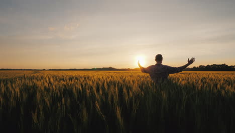 A-Male-Farmer-Raises-His-Hands-Up-The-Rising-Sun-Over-A-Wheat-Field