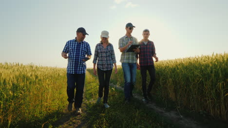 A-Group-Of-Young-Farmers-Walks-Along-A-Country-Road-Along-Wheat-Fields