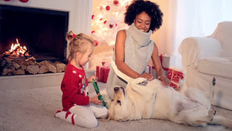 Mom-and-daughter-in-sweaters-play-with-pet-dog