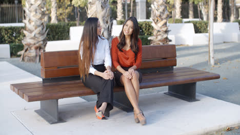 Two-young-businesswomen-chatting-outdoors