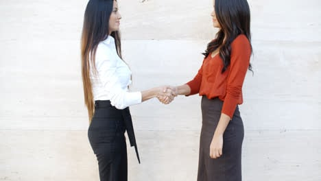 Two-stylish-women-shaking-hands-outdoors