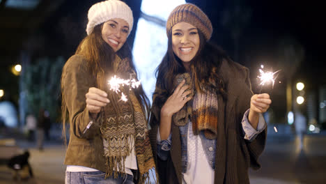Attractive-young-women-having-fun-at-Christmas
