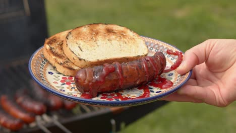 Woman-holding-a-colorful-ceramic-plate-with-barbecued-sausage-and-grilled-bread-
