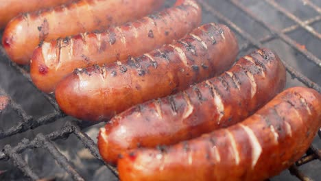 Close-up-on-placend-in-row-on-barbecue-grill-tasty-frying-sausages-Slow-motion-video