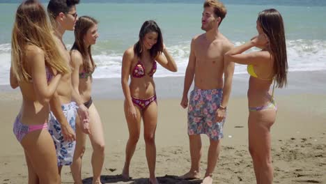 Group-of-Friends-in-Swim-Suits-on-Sunny-Beach