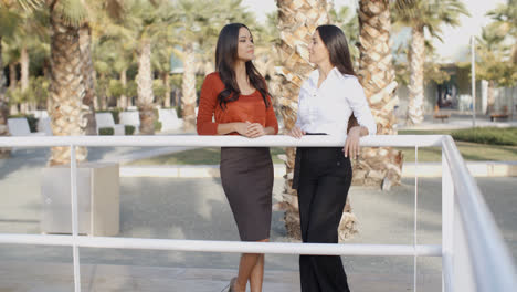 Two-businesswoman-standing-chatting-outdoors