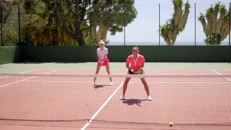 Two-young-woman-tennis-doubles-players