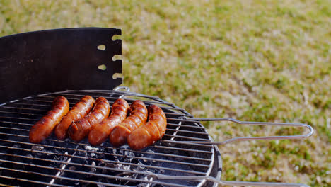 Thick-juicy-sausages-grilling-on-a-fire