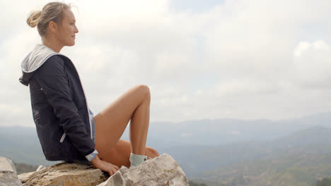 Portrait-of-Blond-Woman-She-Enjoys-Mountain