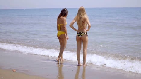 Two-young-women-in-swimsuits-standing-in-the-sea