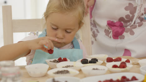 Serious-child-placing-berries-on-muffins