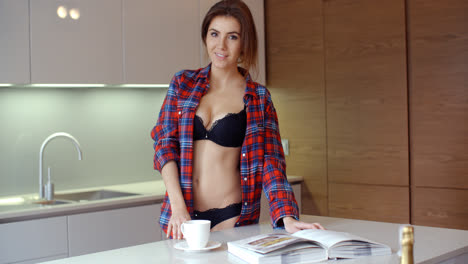 Cute-Young-Woman-in-Her-Kitchen