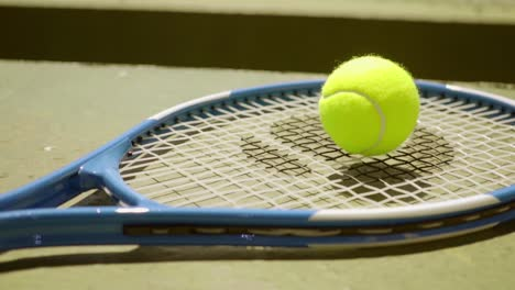 Colorful-neon-yellow-tennis-ball-on-a-racket