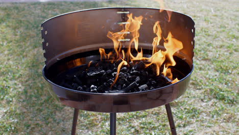 Blazing-fire-in-a-portable-barbecue