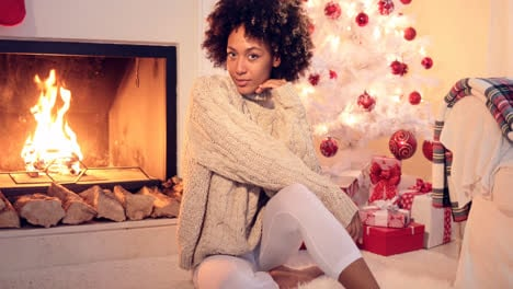Lovely-black-woman-in-white-leggings-and-sweater