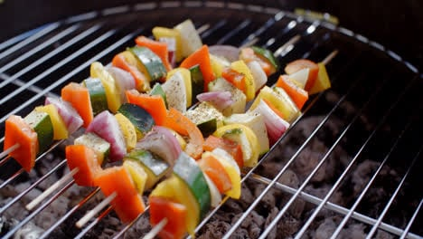 Four-vegetable-kabobs-on-grill