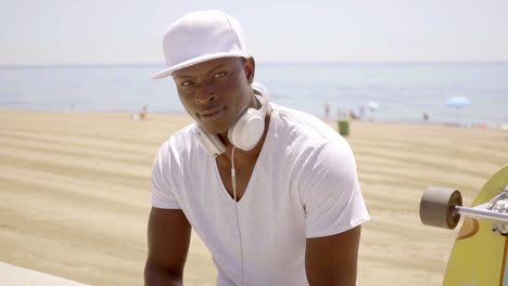 Good-looking-young-muscular-black-man-with-headset
