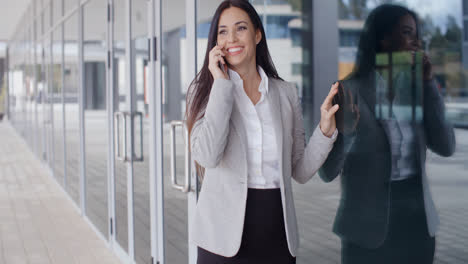 Happy-business-woman-on-phone-next-to-window