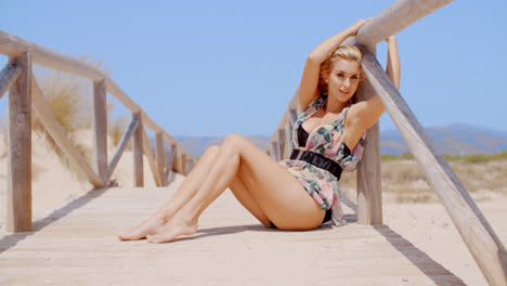 Blond-Model-Posing-on-Sandy-Beach