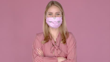 Portrait-of-beautiful-woman-wearing-stylish-face-mask-Protection-against-viruses-pollution