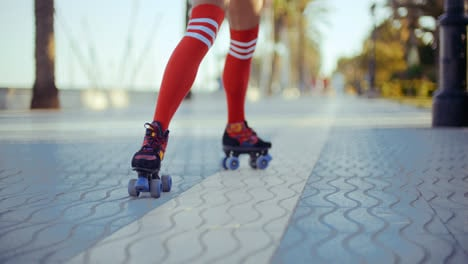 Sexy-Roller-Girl-Skating-on-Exotic-Promenade