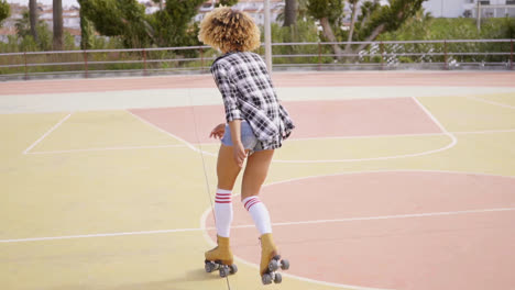 Back-view-of-woman-on-roller-skates